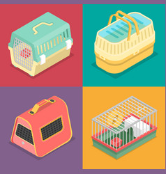 Isometric pet carriers with portable house vector