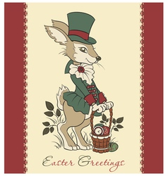 Easter retro card with rabbit vector