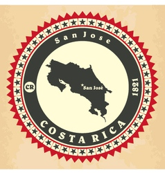Vintage label-sticker cards of costa rica vector