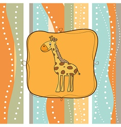 Childish greeting card with giraffe vector