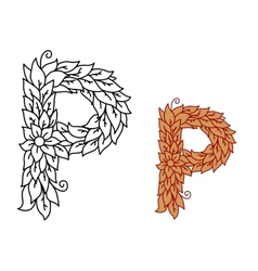 Uppercase letter p in a foliate font vector