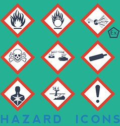 Hazard icons 9 1 package symbols red border vector