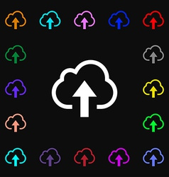 Upload from cloud icon sign lots of colorful vector