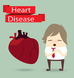 Businessman health problem with heart disease vector
