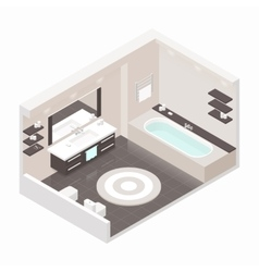 Bathroom isometric detailed set vector