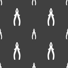 Pliers icon sign seamless pattern on a gray vector
