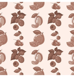 Pattern of lemon raspberry cherry plum vector