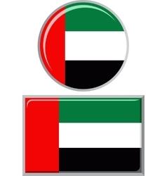 United arab emirates round and square icon flag vector