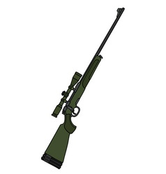Dark green rifle with a telescope vector