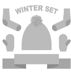 Set winter clothing hat and mittens socks and vector