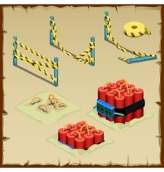 Set of dynamite and police tape vector