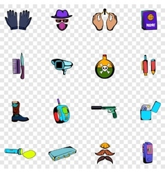 Spy set icons vector