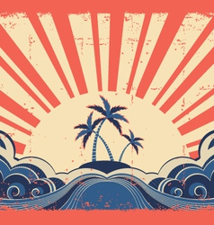 Paradise island on grunge background vector image