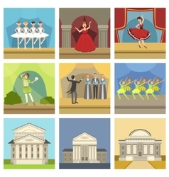 Theatre buildings and stage perfomances set vector