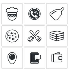 Set of pizza delivery icons cook order vector