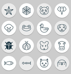 Animal icons set collection of goose puppy fish vector