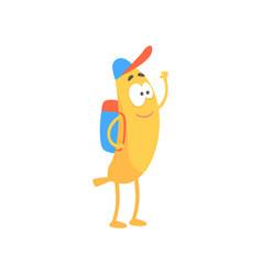 Banana schoolboy with backpack cartoon funny vector