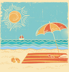 beach scene sea landscape vintage on vector image vector image