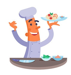 Cartoon chef holding plate with pasta and shrimps vector image vector image