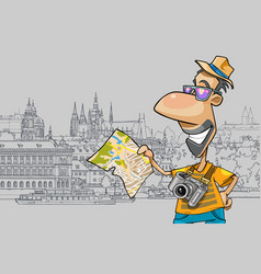 cartoon happy tourist looking at the map vector image