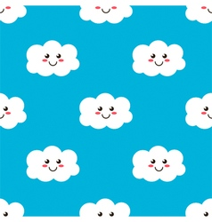 Cartoon smiling clouds seamless pattern background vector