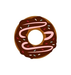 Chocolate donut icon in flat style vector image vector image