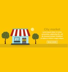City market banner horizontal concept vector