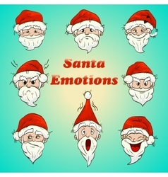 colored santa emotions vector image vector image