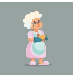 Cute Granny in glasses holding pie Funny cartoon vector image vector image