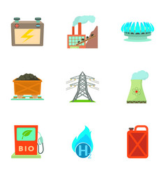 Energy resource icons set cartoon style vector