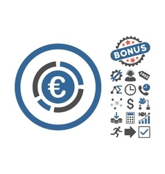Euro financial diagram flat icon with bonus vector