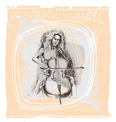 girl playing the cello vector image vector image