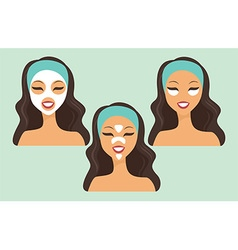 Girl with various beauty masks vector