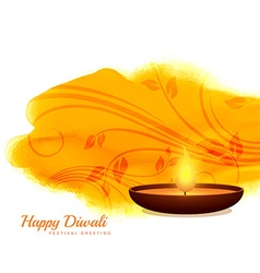 Happy diwali diya background design vector