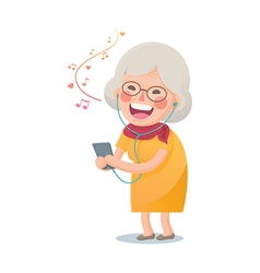 Happy Old Woman Listen the Music vector image