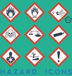 Hazard icons 9 1 package symbols red border vector