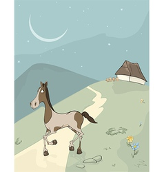 Horse on a meadow vector image