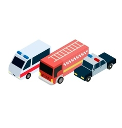 Isometric rescuers cars icons vector