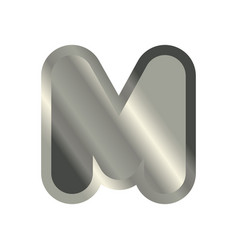 Letter m steel font metal alphabet sign iron abc vector