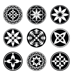 Mandala elements tattoo icon set Star floral vector image