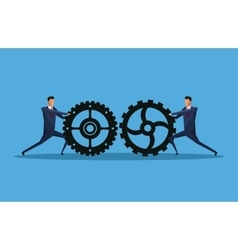 Men business team work gears vector