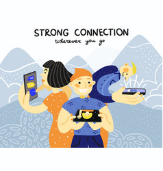 mobile phones connection poster vector image