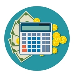 Money dollar bills and coins calculator icon vector