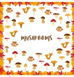Mushrooms autumn pattern frame made of leaves vector