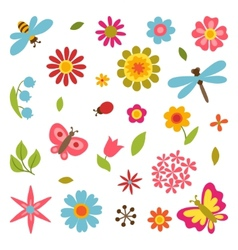 Natural set of beautiful flowers beetles and vector image vector image