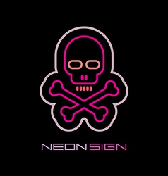neon skull and crossbones vector image vector image