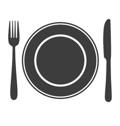 Plate with fork and knife icon laying the table vector