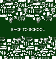 school backg silh green vector image vector image