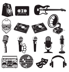 Set of retro party elements Music instruments vector image vector image