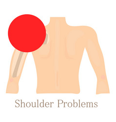Shoulder problem icon cartoon style vector
